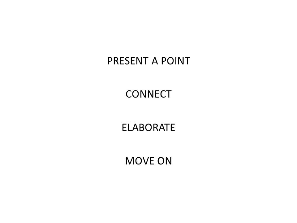 PRESENT A POINT CONNECT ELABORATE MOVE ON