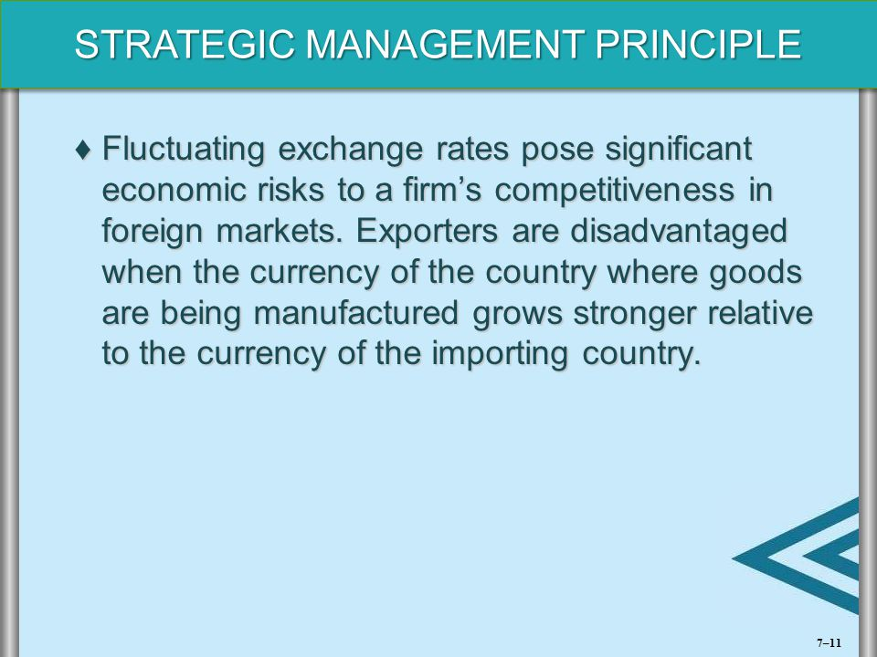STRATEGIC MANAGEMENT PRINCIPLE ♦Fluctuating exchange rates pose significant economic risks to a firm's competitiveness in foreign markets. Exporters a