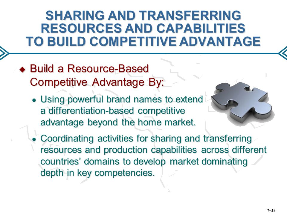 SHARING AND TRANSFERRING RESOURCES AND CAPABILITIES TO BUILD COMPETITIVE ADVANTAGE  Build a Resource-Based Competitive Advantage By: ● Using powerful