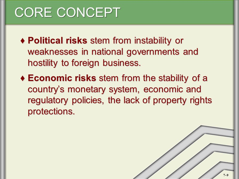 CORE CONCEPT ♦Political risks stem from instability or weaknesses in national governments and hostility to foreign business. ♦Economic risks stem from