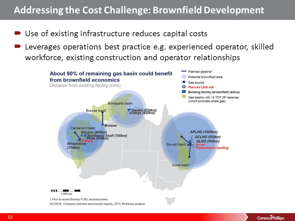 Addressing the Cost Challenge: Brownfield Development  Use of existing infrastructure reduces capital costs  Leverages operations best practice e.g.