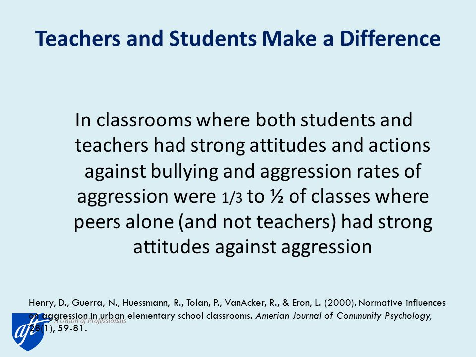Teachers and Students Make a Difference In classrooms where both students and teachers had strong attitudes and actions against bullying and aggression rates of aggression were 1/3 to ½ of classes where peers alone (and not teachers) had strong attitudes against aggression Henry, D., Guerra, N., Huessmann, R., Tolan, P., VanAcker, R., & Eron, L.