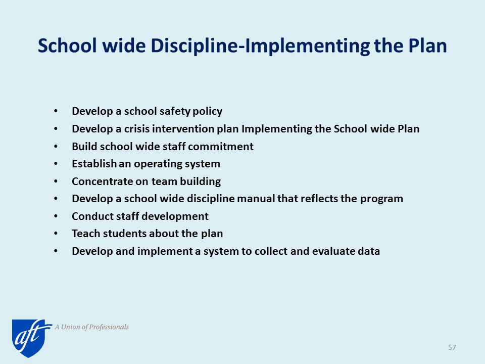 School wide Discipline-Implementing the Plan Develop a school safety policy Develop a crisis intervention plan Implementing the School wide Plan Build school wide staff commitment Establish an operating system Concentrate on team building Develop a school wide discipline manual that reflects the program Conduct staff development Teach students about the plan Develop and implement a system to collect and evaluate data 57