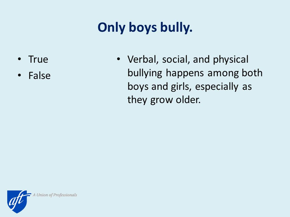 Prevalence of Bullying Behaviors and the Roles of Gender Source: Wang, 2009