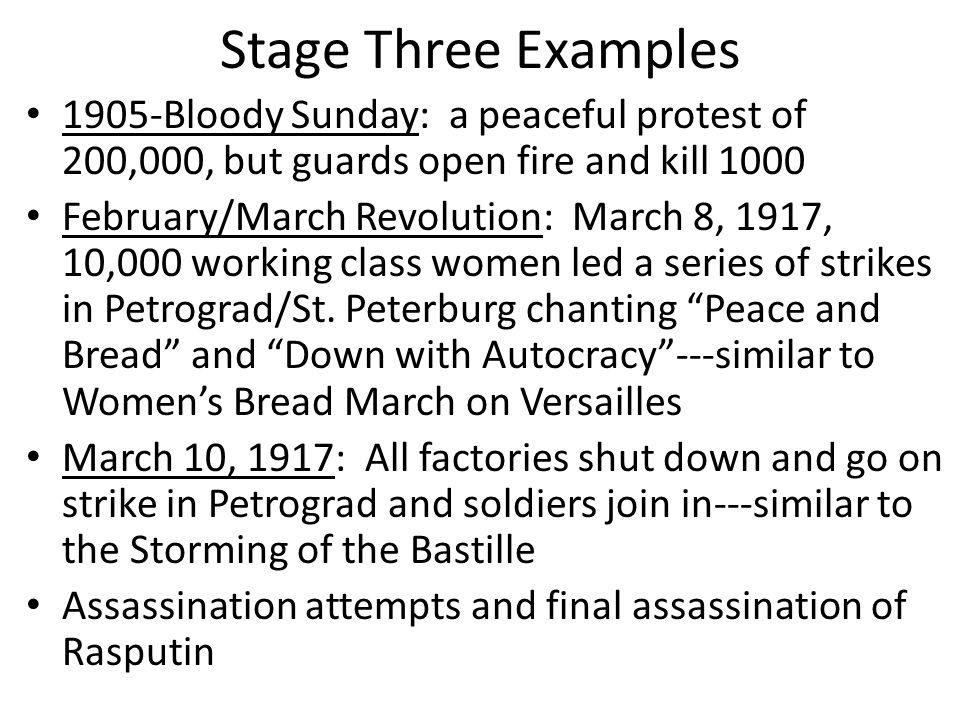 """Stage Two Examples Lenin: led the Bolsheviks, communist, followers were the soviets who were like the sans-culottes, slogans of """"Bread, Peace, and Fre"""