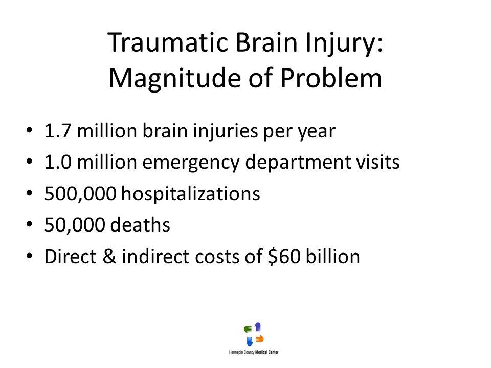Traumatic Brain Injury: Magnitude of Problem 1.7 million brain injuries per year 1.0 million emergency department visits 500,000 hospitalizations 50,0