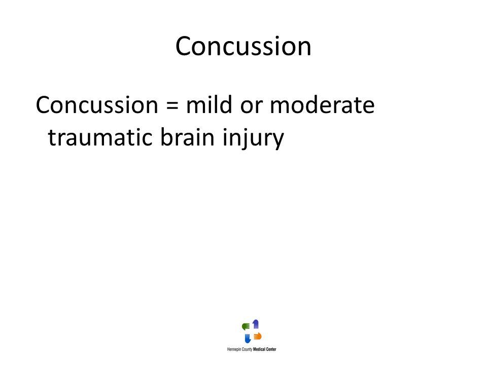 Concussion Concussion = mild or moderate traumatic brain injury