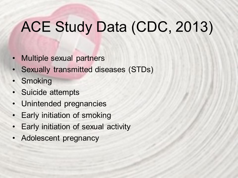 ACE Study Data (CDC, 2013) http://acestudy.org/ http://acestoohigh.com/2014/08/20/florida- study-confirms-link-between-juvenile- offenders-aces-rates-much-higher-than-cdcs- ace-study/ http://acestoohigh.com/2014/08/20/florida- study-confirms-link-between-juvenile- offenders-aces-rates-much-higher-than-cdcs- ace-study/