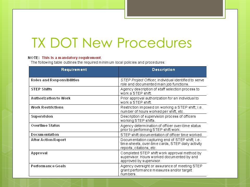 TX DOT New Procedures
