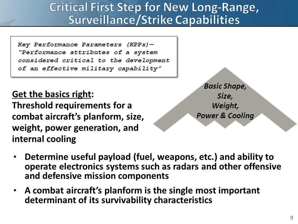 9 Key Performance Parameters (KPPs)— Performance attributes of a system considered critical to the development of an effective military capability Basic Shape, Size, Weight, Power & Cooling Determine useful payload (fuel, weapons, etc.) and ability to operate electronics systems such as radars and other offensive and defensive mission components A combat aircraft's planform is the single most important determinant of its survivability characteristics Get the basics right: Threshold requirements for a combat aircraft's planform, size, weight, power generation, and internal cooling