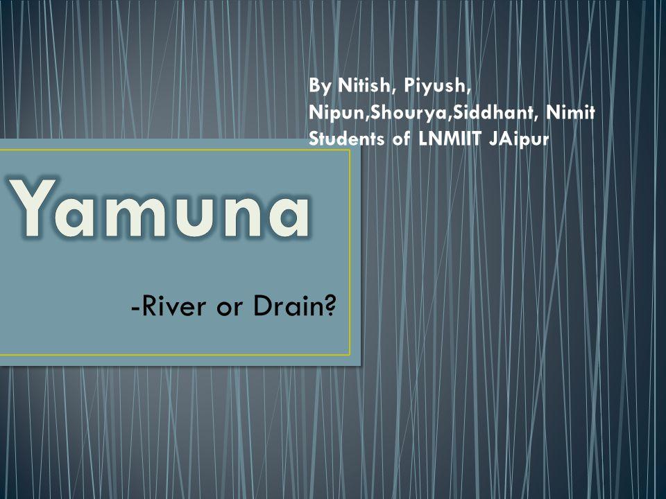 -River or Drain? By Nitish, Piyush, Nipun,Shourya,Siddhant, Nimit Students of LNMIIT JAipur
