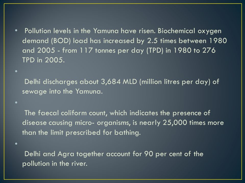 Pollution levels in the Yamuna have risen.