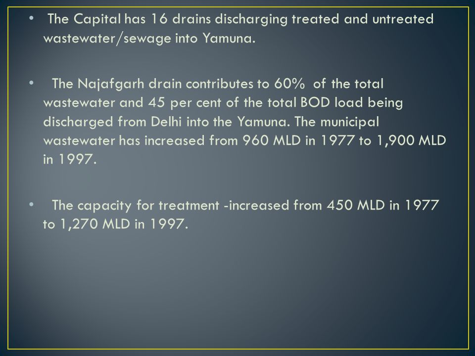 The Capital has 16 drains discharging treated and untreated wastewater/sewage into Yamuna.