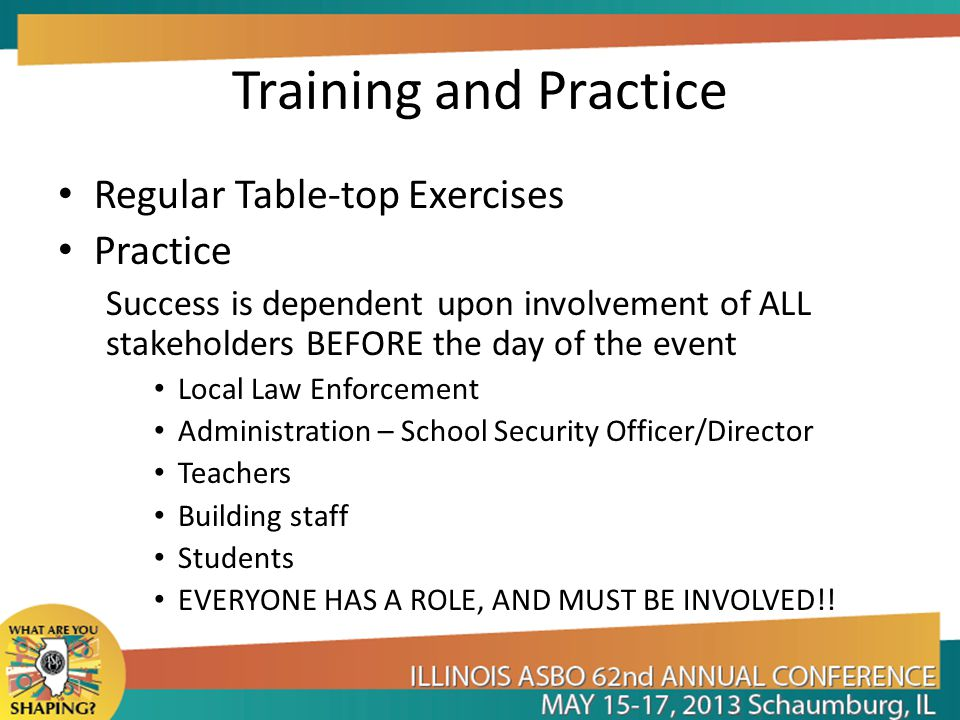 Training and Practice Regular Table-top Exercises Practice Success is dependent upon involvement of ALL stakeholders BEFORE the day of the event Local Law Enforcement Administration – School Security Officer/Director Teachers Building staff Students EVERYONE HAS A ROLE, AND MUST BE INVOLVED!!