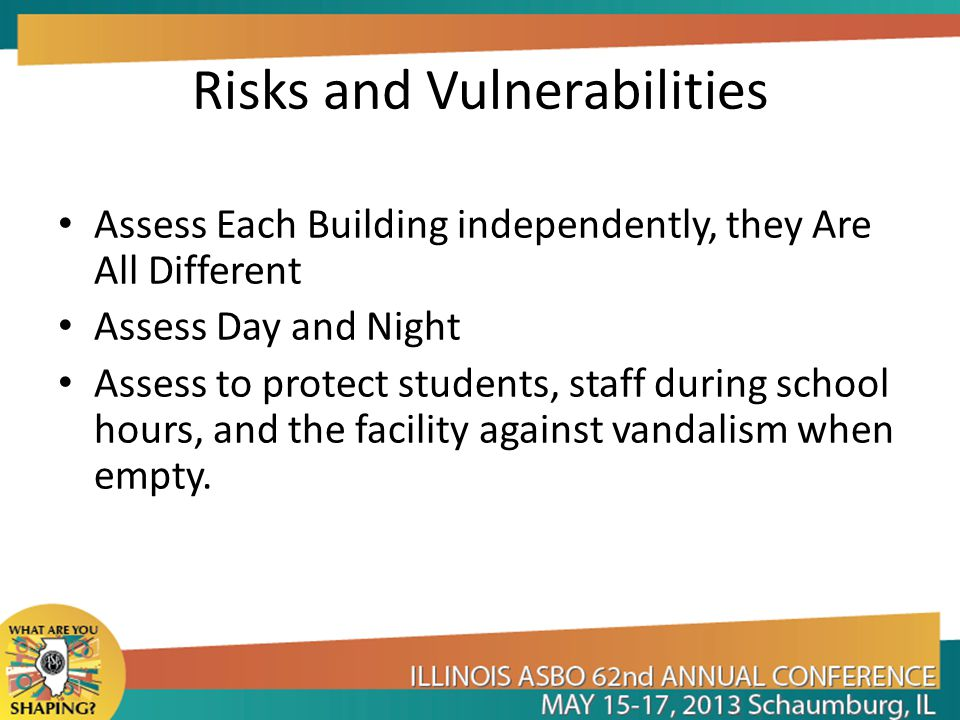 Risks and Vulnerabilities Assess Each Building independently, they Are All Different Assess Day and Night Assess to protect students, staff during school hours, and the facility against vandalism when empty.