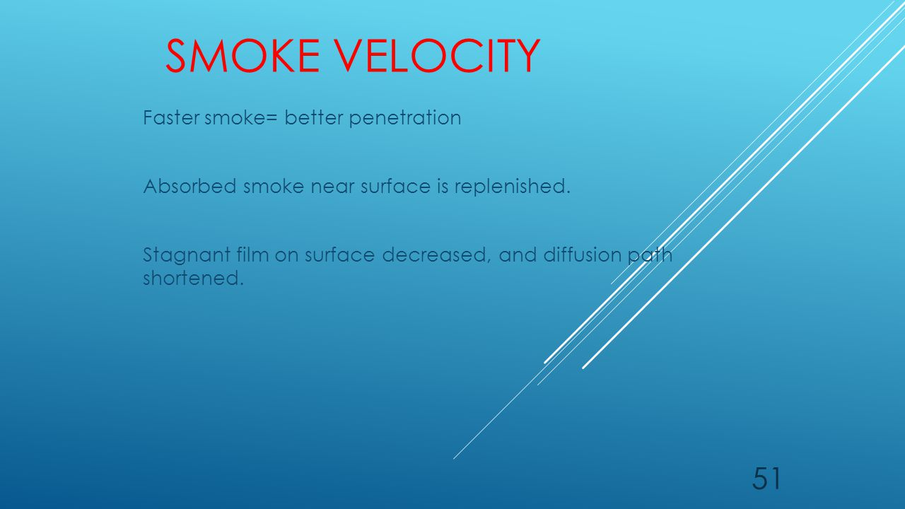 SMOKE VELOCITY Faster smoke= better penetration Absorbed smoke near surface is replenished. Stagnant film on surface decreased, and diffusion path sho