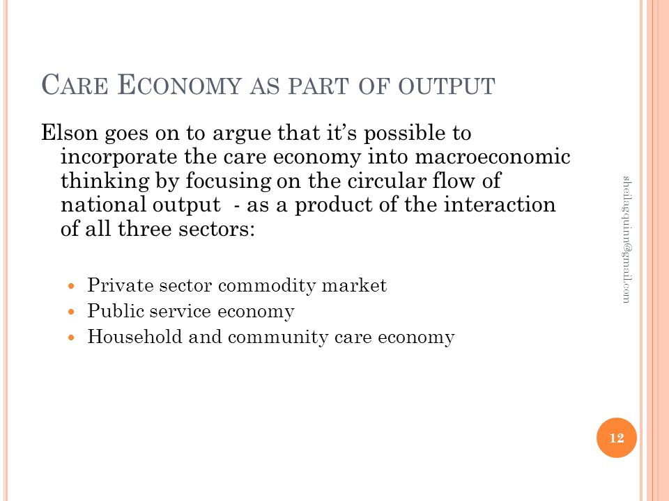 C ARE E CONOMY AS PART OF OUTPUT Elson goes on to argue that it's possible to incorporate the care economy into macroeconomic thinking by focusing on the circular flow of national output - as a product of the interaction of all three sectors: Private sector commodity market Public service economy Household and community care economy 12 sheilagquinn@gmail.com