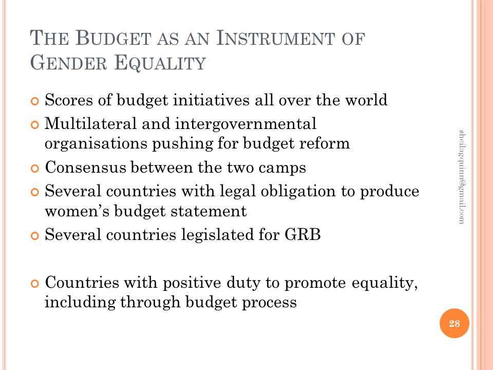 T HE B UDGET AS AN I NSTRUMENT OF G ENDER E QUALITY Scores of budget initiatives all over the world Multilateral and intergovernmental organisations pushing for budget reform Consensus between the two camps Several countries with legal obligation to produce women's budget statement Several countries legislated for GRB Countries with positive duty to promote equality, including through budget process 28 sheilagquinn@gmail.com
