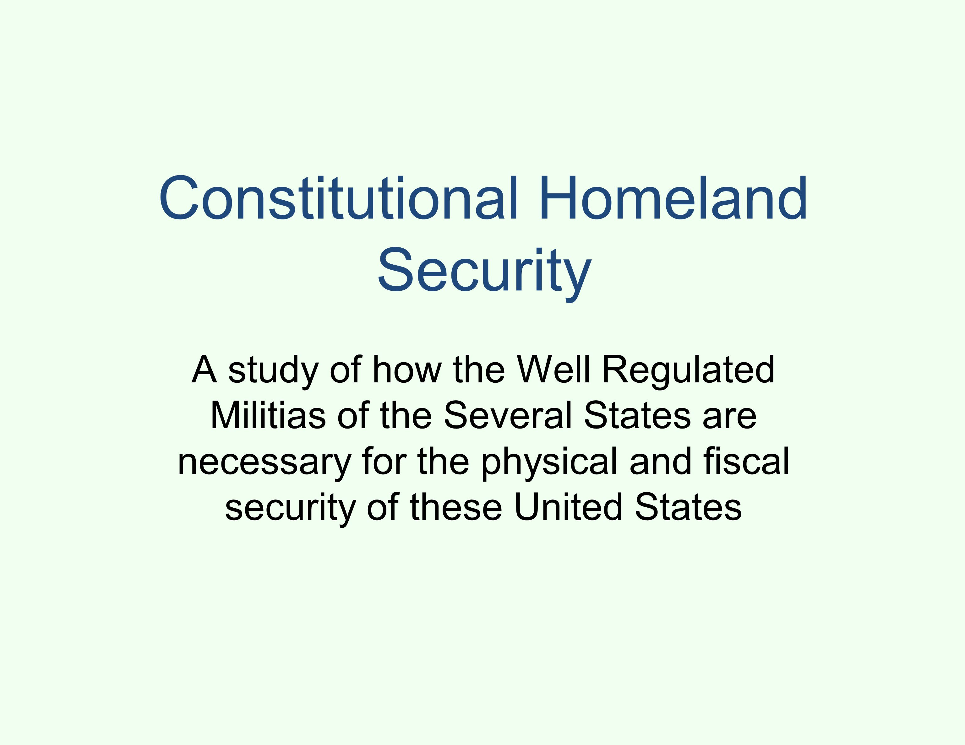 Constitutional Homeland Security A study of how the Well Regulated Militias of the Several States are necessary for the physical and fiscal security of these United States