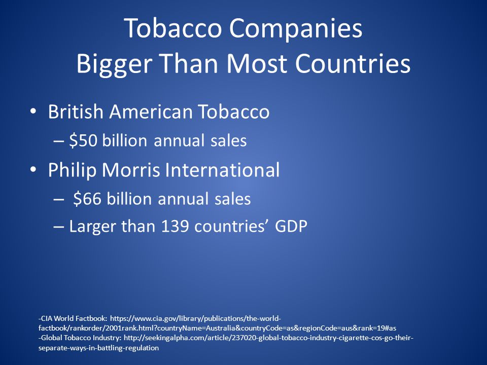 Tobacco Companies Bigger Than Most Countries British American Tobacco – $50 billion annual sales Philip Morris International – $66 billion annual sales – Larger than 139 countries' GDP -CIA World Factbook: https://www.cia.gov/library/publications/the-world- factbook/rankorder/2001rank.html?countryName=Australia&countryCode=as&regionCode=aus&rank=19#as -Global Tobacco Industry: http://seekingalpha.com/article/237020-global-tobacco-industry-cigarette-cos-go-their- separate-ways-in-battling-regulation
