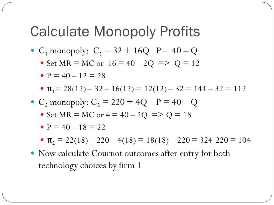Symmetric Cournot Both firms face C 1 = 32 + 16Q and P = 40 – (Q 1 + Q 2 ) π 1 = P 1 Q 1 – C 1 = Q 1 [40 – (Q 1 + Q 2 )] – 32 – 16Q 1 = 24Q 1 – Q 1 2 - Q 1 Q 2 – 32 ∆ π /∆Q 1 = 24 - 2Q 1 - Q 2 = 0 Reaction curves: Q 1 = 12 – ½Q 2 ; Q 2 = 12 – ½Q 1.