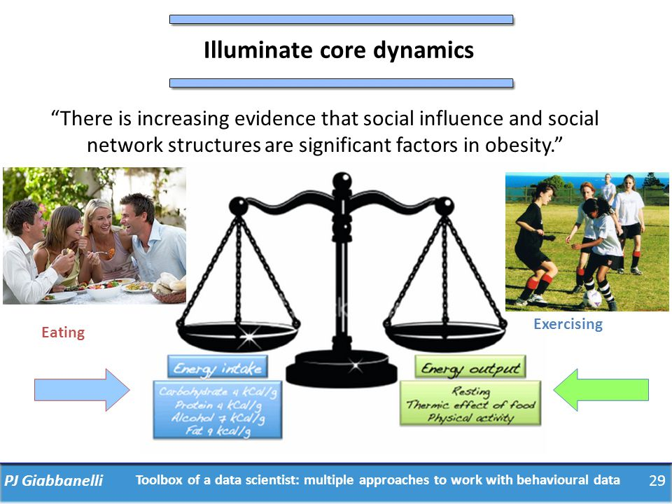 "PJ Giabbanelli29 Illuminate core dynamics ""There is increasing evidence that social influence and social network structures are significant factors in"