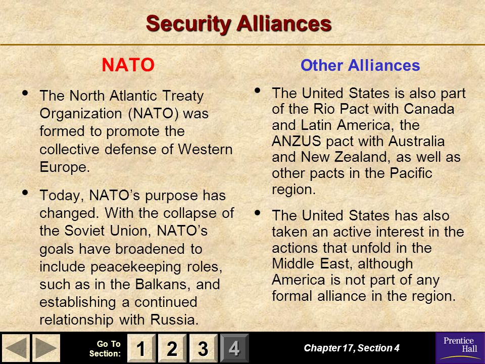 123 Go To Section: 4 Security Alliances Other Alliances The United States is also part of the Rio Pact with Canada and Latin America, the ANZUS pact with Australia and New Zealand, as well as other pacts in the Pacific region.