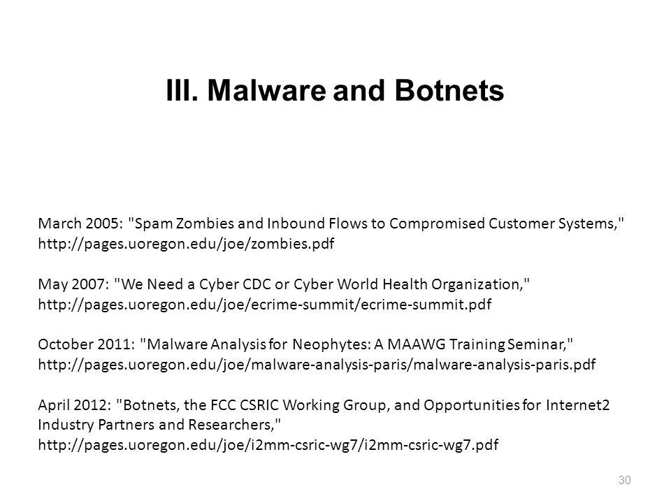 III. Malware and Botnets 30 March 2005: