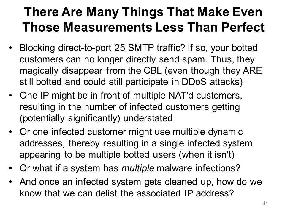 There Are Many Things That Make Even Those Measurements Less Than Perfect Blocking direct-to-port 25 SMTP traffic? If so, your botted customers can no