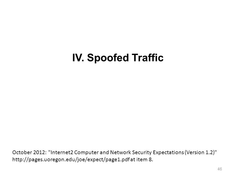 IV. Spoofed Traffic 46 October 2012: