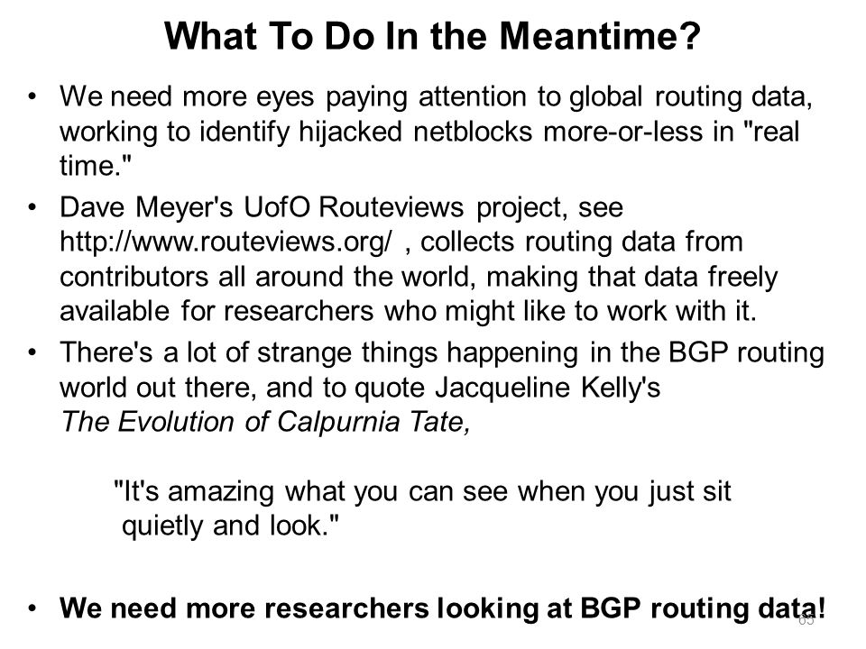 What To Do In the Meantime? We need more eyes paying attention to global routing data, working to identify hijacked netblocks more-or-less in