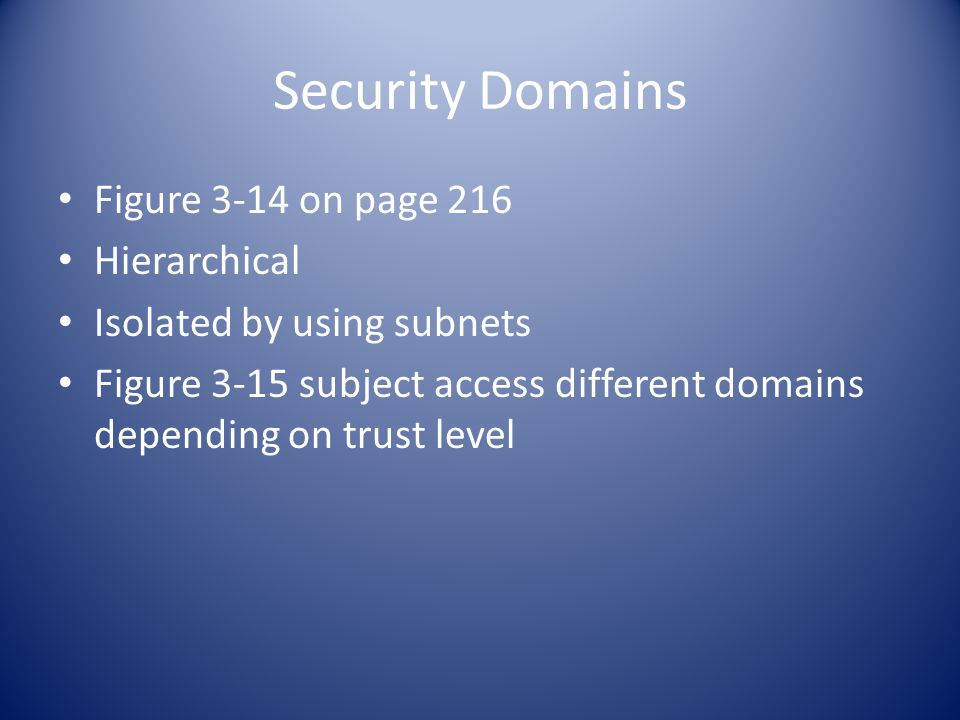 Security Domains Figure 3-14 on page 216 Hierarchical Isolated by using subnets Figure 3-15 subject access different domains depending on trust level