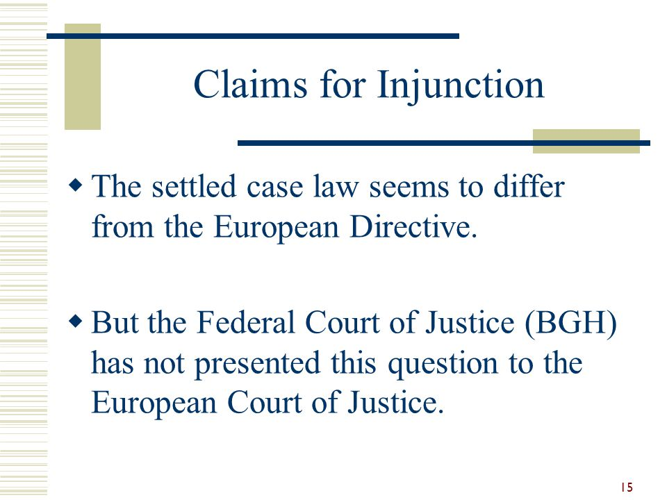 Claims for Injunction  The settled case law seems to differ from the European Directive.  But the Federal Court of Justice (BGH) has not presented t