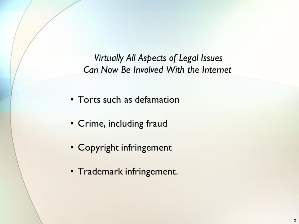 Virtually All Aspects of Legal Issues Can Now Be Involved With the Internet Torts such as defamation Crime, including fraud Copyright infringement Tra