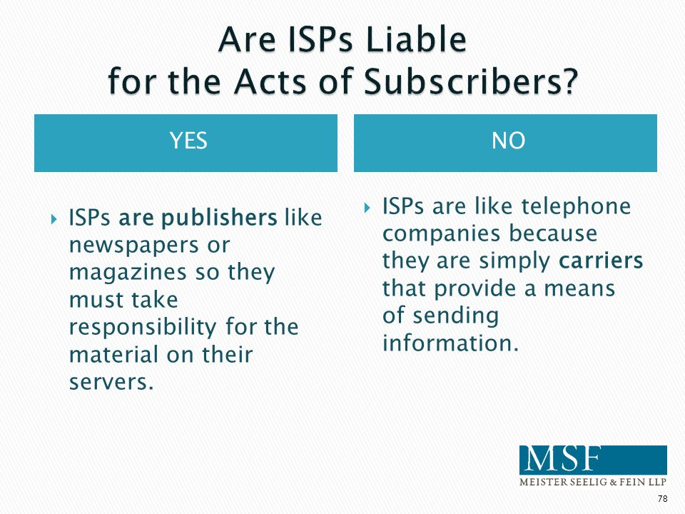 YESNO  ISPs are publishers like newspapers or magazines so they must take responsibility for the material on their servers.  ISPs are like telephone