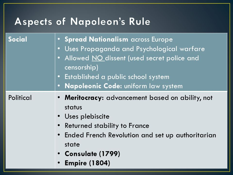 Social Spread Nationalism across Europe Uses Propaganda and Psychological warfare Allowed NO dissent (used secret police and censorship) Established a