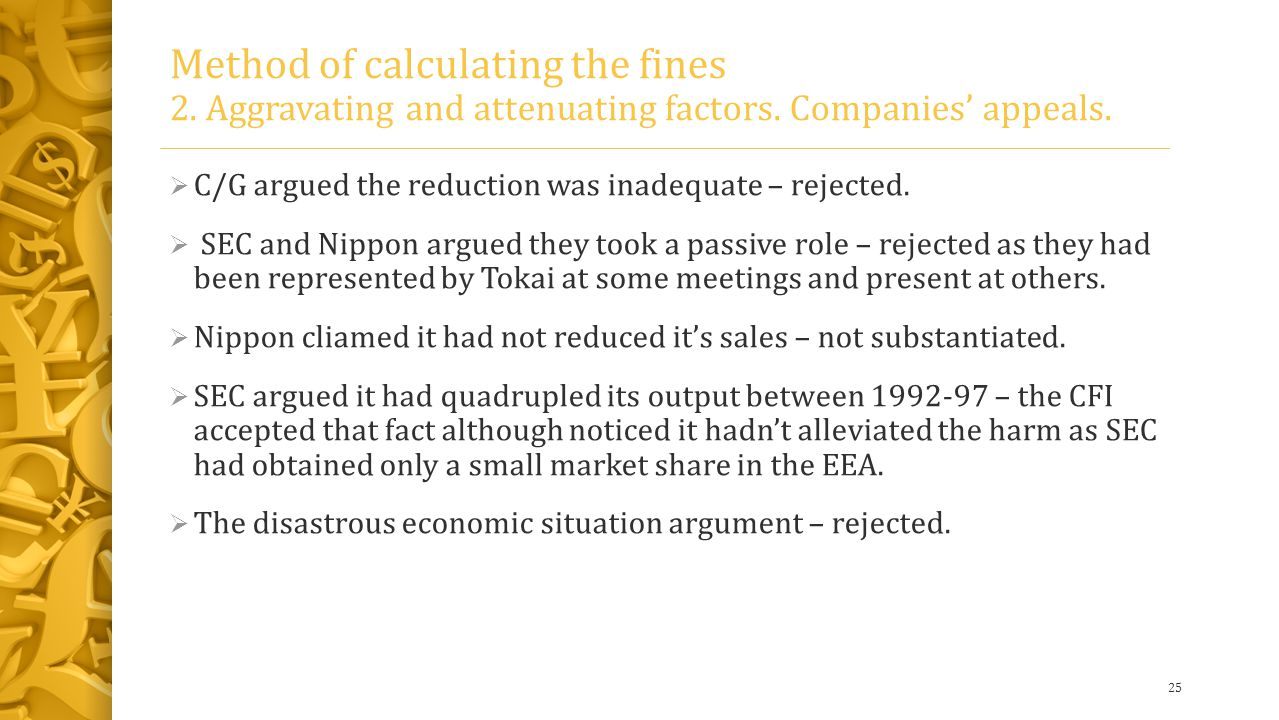 Method of calculating the fines 2. Aggravating and attenuating factors.