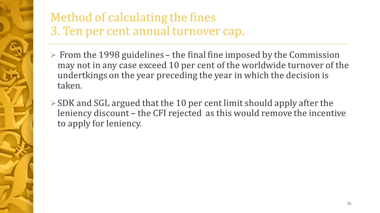 Method of calculating the fines 3. Ten per cent annual turnover cap.