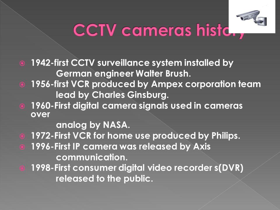  1942-first CCTV surveillance system installed by German engineer Walter Brush.