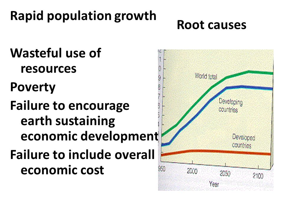 Root causes Rapid population growth Wasteful use of resources Poverty Failure to encourage earth sustaining economic development Failure to include ov