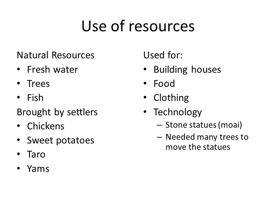 Use of resources Natural Resources Fresh water Trees Fish Brought by settlers Chickens Sweet potatoes Taro Yams Used for: Building houses Food Clothin