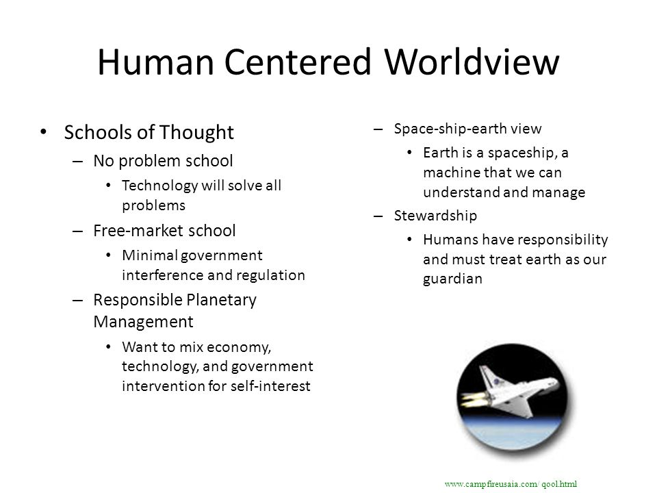Human Centered Worldview Schools of Thought – No problem school Technology will solve all problems – Free-market school Minimal government interferenc
