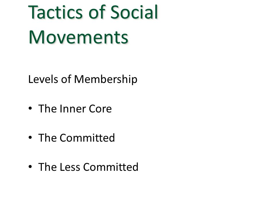 Levels of Membership The Inner Core The Committed The Less Committed Tactics of Social Movements