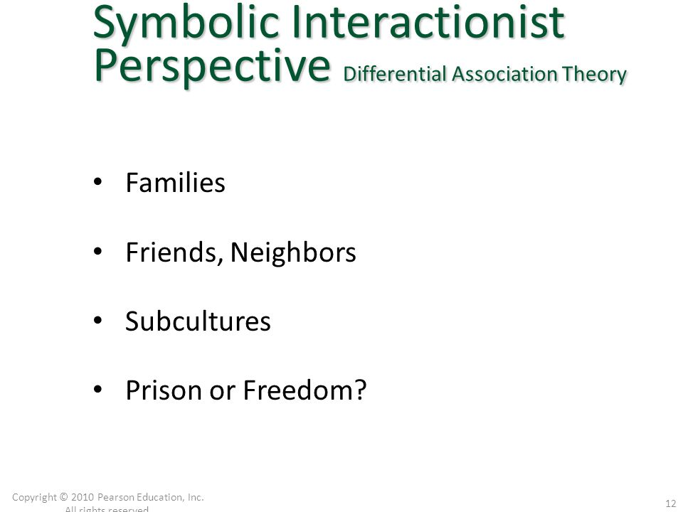 Families Friends, Neighbors Subcultures Prison or Freedom? Copyright © 2010 Pearson Education, Inc. All rights reserved. 12 Symbolic Interactionist Pe