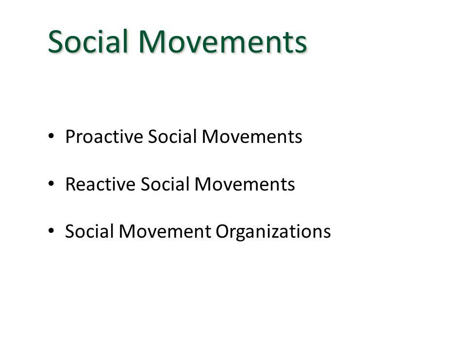 Proactive Social Movements Reactive Social Movements Social Movement Organizations Social Movements