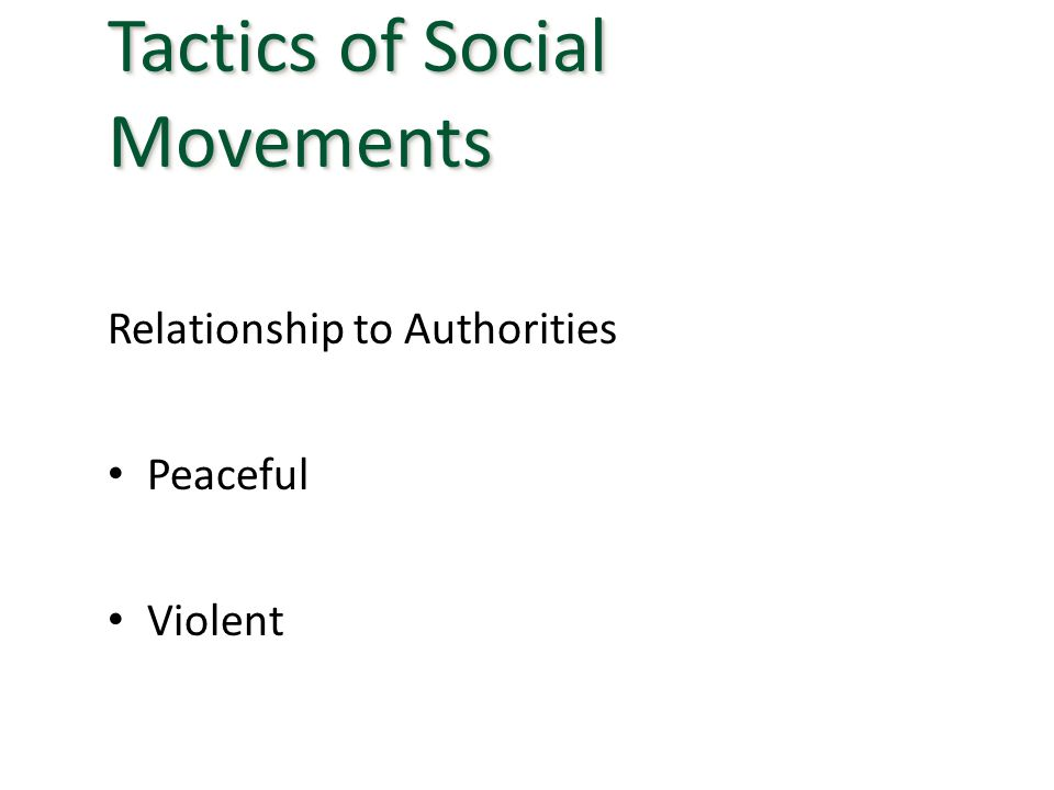 Relationship to Authorities Peaceful Violent Tactics of Social Movements