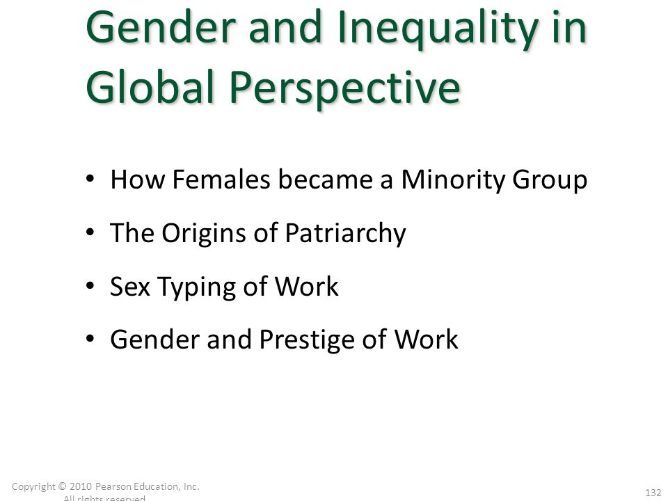 How Females became a Minority Group The Origins of Patriarchy Sex Typing of Work Gender and Prestige of Work Copyright © 2010 Pearson Education, Inc.