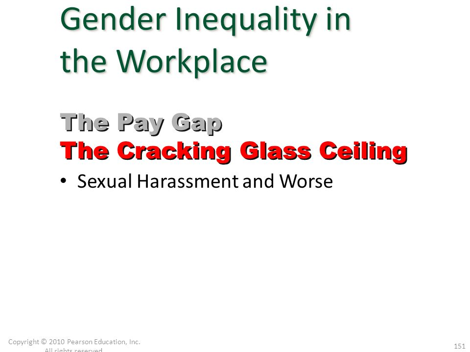 Sexual Harassment and Worse Copyright © 2010 Pearson Education, Inc. All rights reserved. 151 Gender Inequality in the Workplace The Pay Gap The Crack