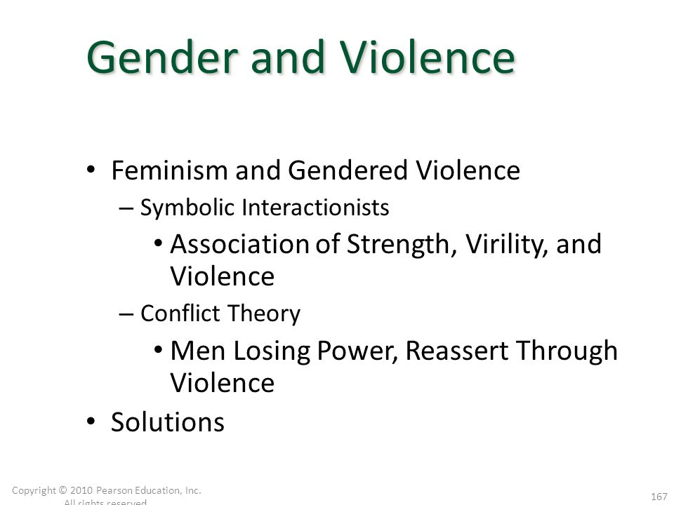 Feminism and Gendered Violence – Symbolic Interactionists Association of Strength, Virility, and Violence – Conflict Theory Men Losing Power, Reassert