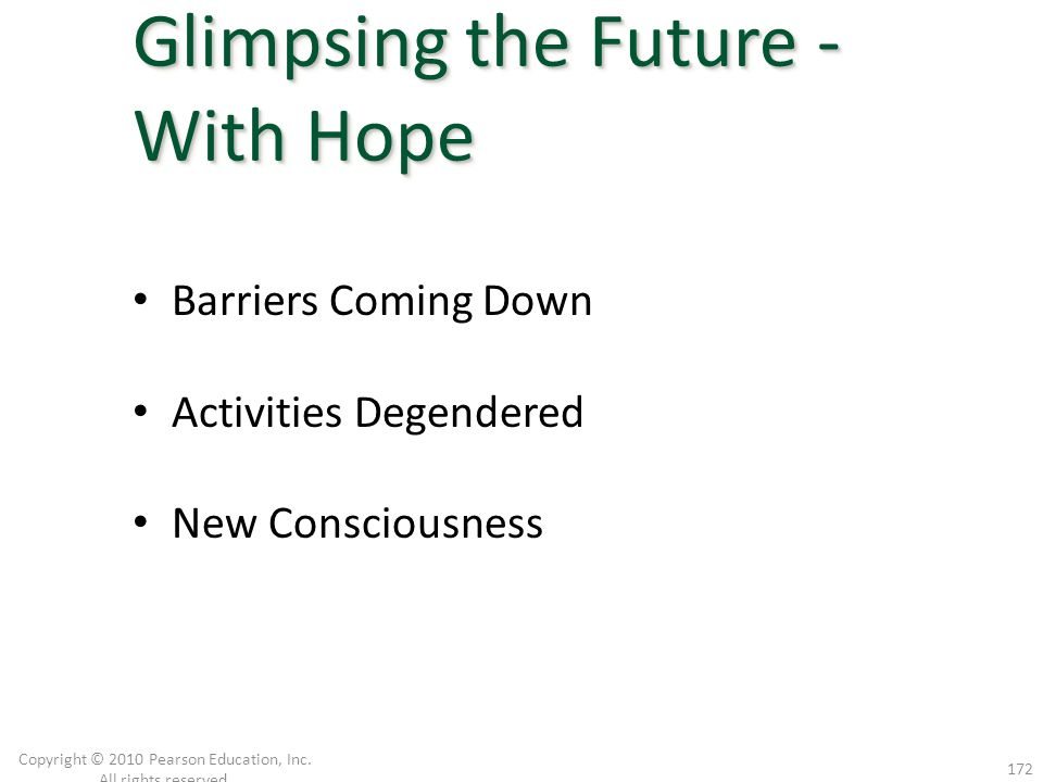 Barriers Coming Down Activities Degendered New Consciousness Copyright © 2010 Pearson Education, Inc. All rights reserved. 172 Glimpsing the Future -